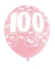 100th Birthday Pink Glitz Latex Balloons 12 inch